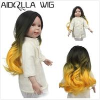 Aidolla Doll Hair Wig, Yellow Black Long Wavy Curly Heat Resist Doll Wigs for 18 inch Dolls