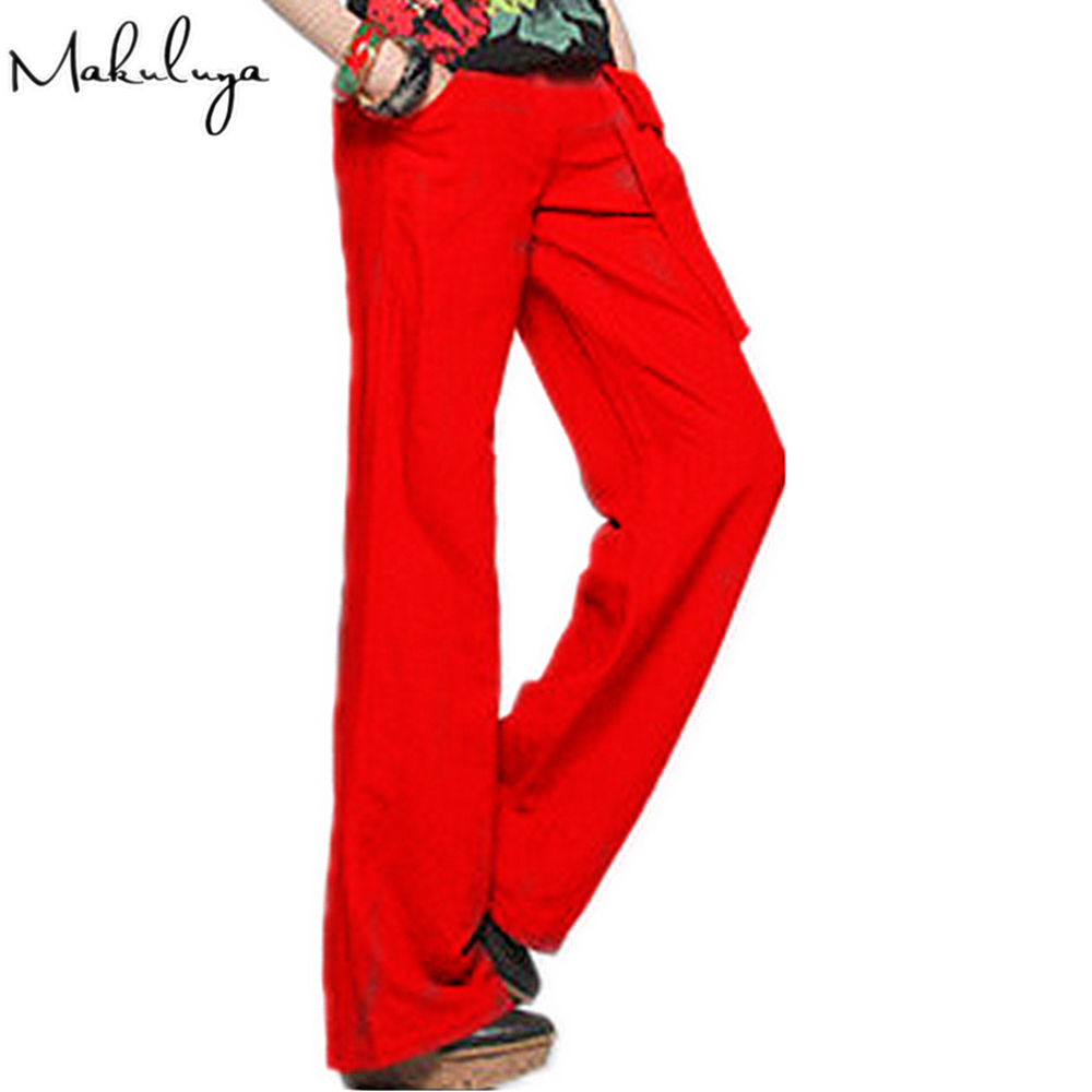 Makuluya 2020 FREE PANTS Better Linen Loose Vintage Solid Color Wide Leg Pants Straight Casual Women XXL Red Trousers L6