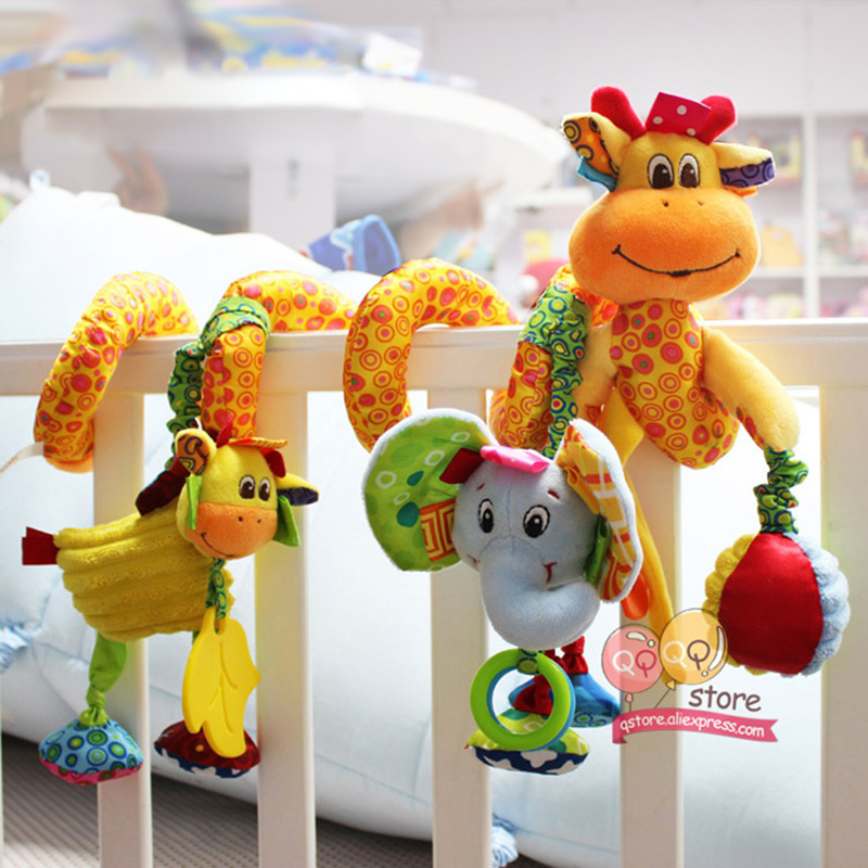 Baby Toys For Children 0 12 Months Plush Rattle Crib Spiral Hanging Mobile Infant Newborn Stroller Bed Animal Gift Happy Monkey