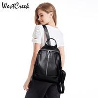 WESTCREEK Brand Black Anti Theft Backpack Women High Quality Cowhide Bag Personality Soft Leather Bookbag Travel Back Pack