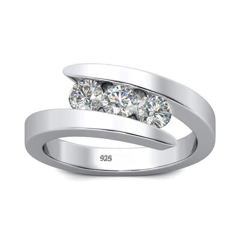 Szjinao 100% véritable Moissanite bague 925 en argent Sterling diamant anneaux pour les femmes avec D couleur VVS1 fiançailles mariage bijoux fins