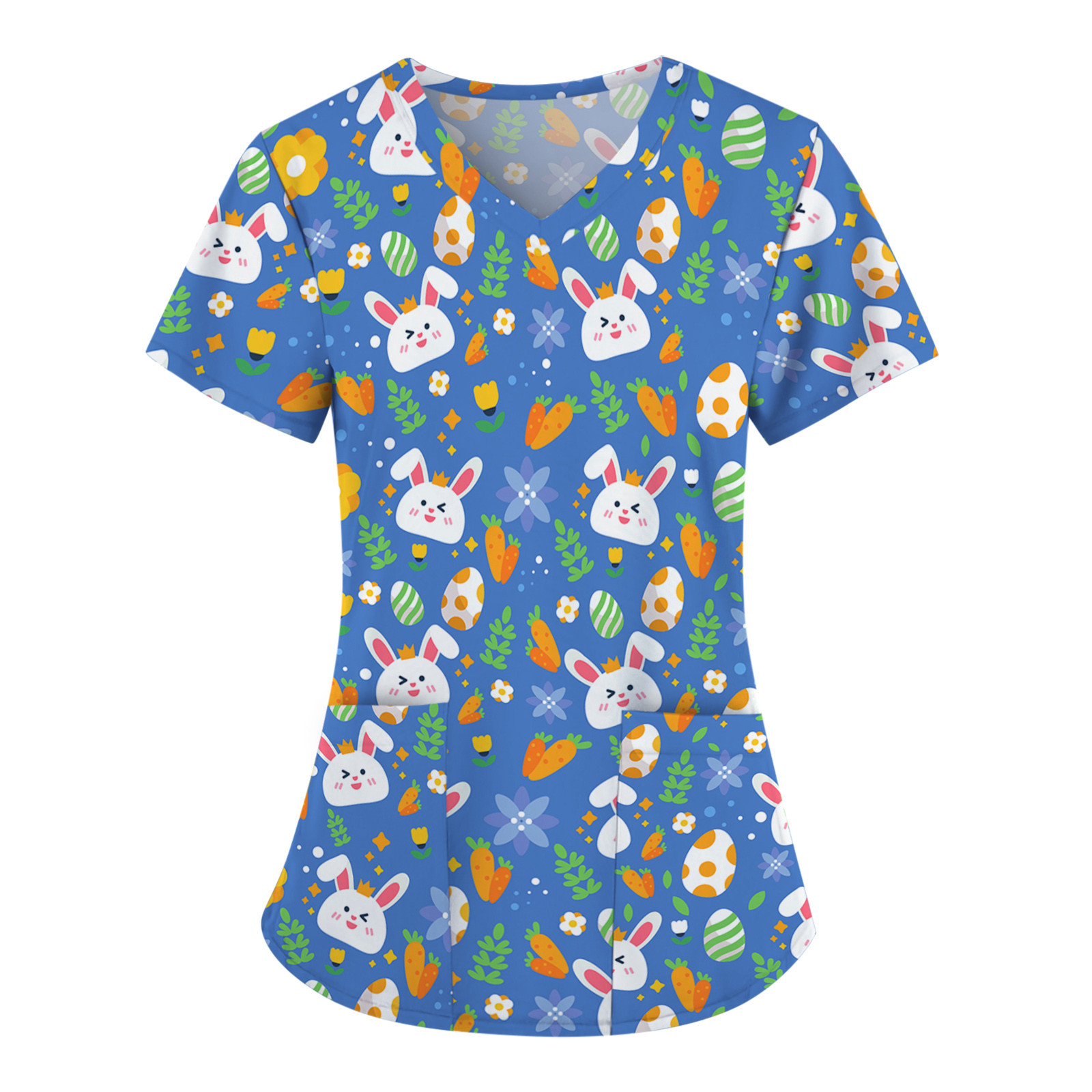 Scrubs Women T-Shirts Uniform Short Sleeves V-Neck Tee Tops Cartoon Print Working Uniform Female Tshirts женские футболки