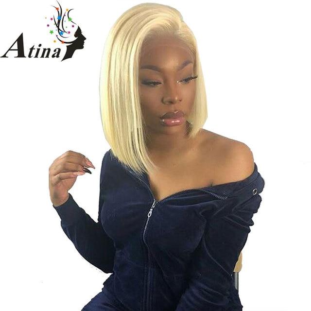 Peluca con malla Frontal 613 rubia 13x6 color azul Remy rojo cabello humano extremos completos cierre Frontal transparente pelucas de Bob corto de encaje suizo