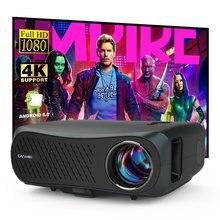 CAIWEI Full HD 1920*1080p projektör, yükseltme 7200 lümen, Android 6.0 wifi, destek 4K LED projektör 3D ev sineması
