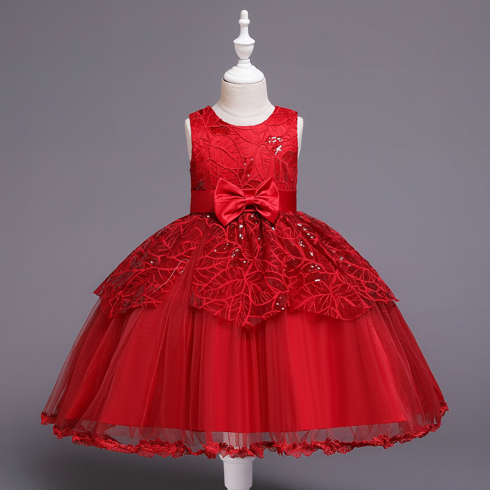 Children Sleeveless Sequin CHILDREN'S DAY Performance Dress Infants Child A Year Of Age Bow Gauze Puffy Princess Skirt