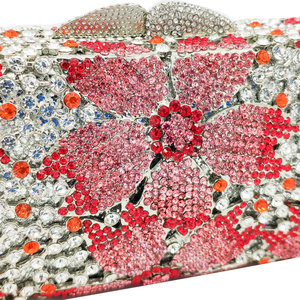 Image 2 - Boutique De FGG Hollow Out Women Crystal Flower Clutch Evening Handbags and Purses Metal Hardcase Floral Wedding Minaudiere Bags