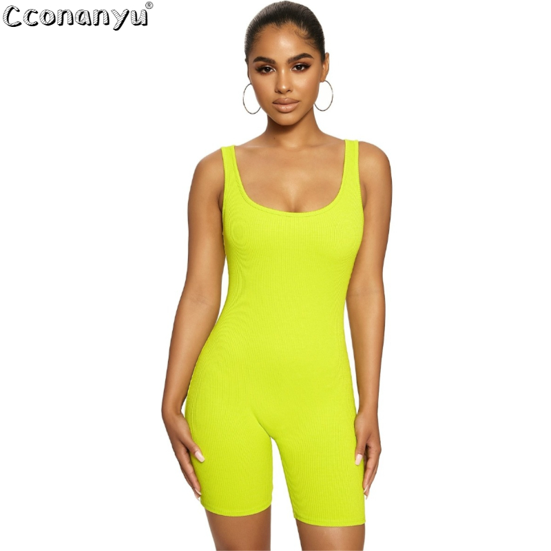 Women Round Neck Jumpsuits Bodycon Sleeveless Clubwear Playsuit Skinny jumpsuits for women 2019