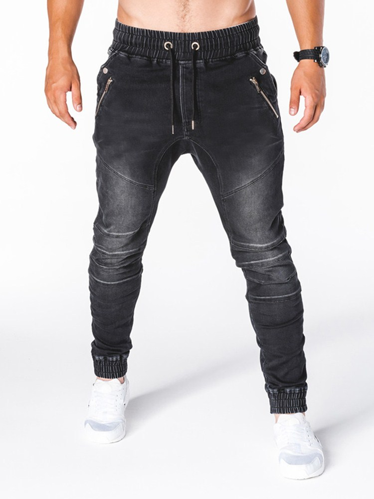3 Styles Men Stretchy Skinny Biker Slim Fit Denim Men Multi-pocket Zipper Pencil Pants Men Casual Jogging Jeans  S-3XL