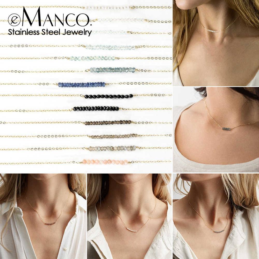 e-Manco Trendy Multilayer stainless steel necklace for women choker statement necklace Crystal pendants necklace set jewelry