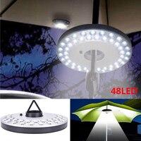 48 LED paraguas luz linterna exterior Camping luz postes tienda luz con gancho colgante para jardín Patio playa pesca senderismo