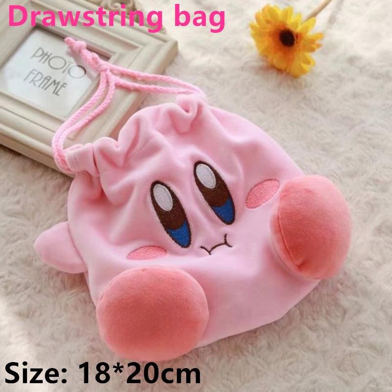 20 piezas bolsas con cordón anime Kirby venta al por mayor monedero regalos para chicas cartera Rosa bolsa de maquillaje