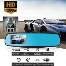 Full HD 1080P Car Dvr Camera Auto 4.3 Inch Rearview Mirror Digital Video Recorder Dual Lens Registratory Camcorder #N(China)