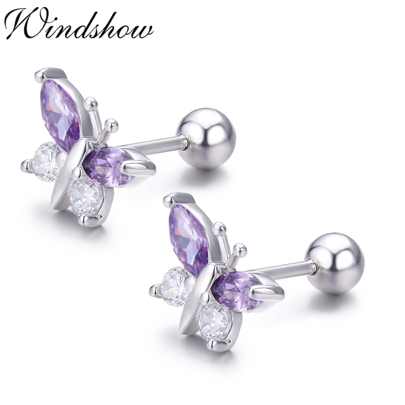 Girls Butterfly Crystal Ear Studs 925 Sterling Silver Nb Of Crystal Stones 16