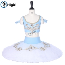 Women Professional Ballet Tutus Blue White Two Pieces Performance tutu Bra Top  Adult CostumesBT9251