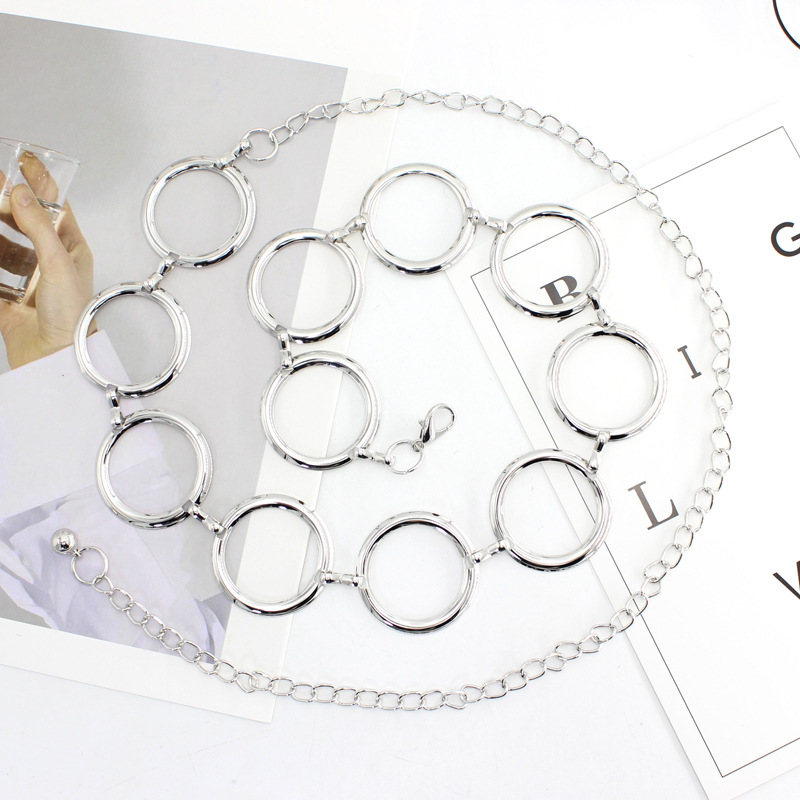 New Arrival Silver Ring Chain Belt Fashion Elegant Gold Metal Female Round Alloy Women Circle Waist Dress Belts Strap