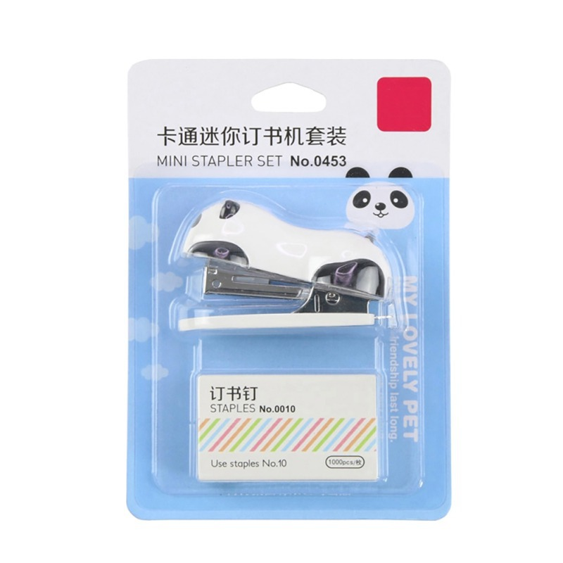 Small Panda Stapler Cartoon Office School Paper Clip Binding Binder Book Sewer