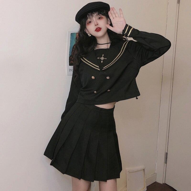 Костюм для девочек JK для ранней весны, юбка, Женский наряд для сестер, темно-синее платье в стиле ретро для ранней весны, юбка в нормкор-стиле ...