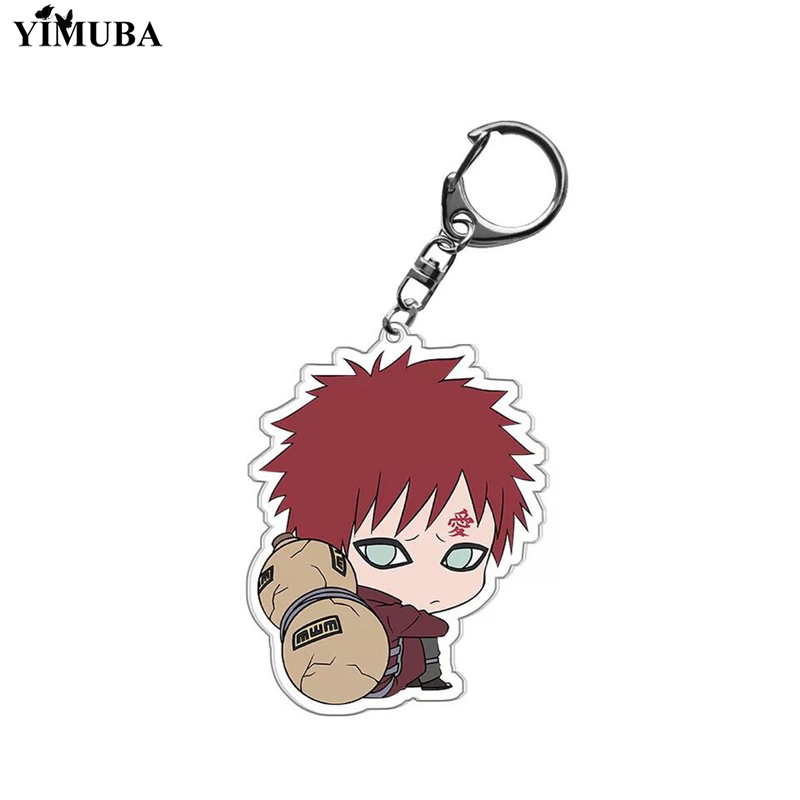 Cute Naruto Q Version Characters Keychain Cartoon Double-side Acrylic Key Ring Holder Bag Charm Classic Anime Jewelry Teens Gift