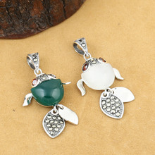 925 Sterling Silver Jewelry Retro Thai Silver Men and Women Marcasite Inlaid Opal Agate Cute Fish Couple pendant недорого
