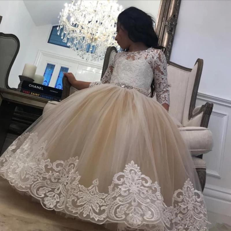 Champagne Lace Crystal Flower Girls Dresses With Long Sleeve 2020 Jewel Neck Little Girl Wedding Communion Pageant Ball Gown