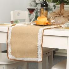 Праздничный праздничный обеденный стол, украшения для рождественской вечеринки, подшитый льняной кружевной стол, украшение для обеденного стола