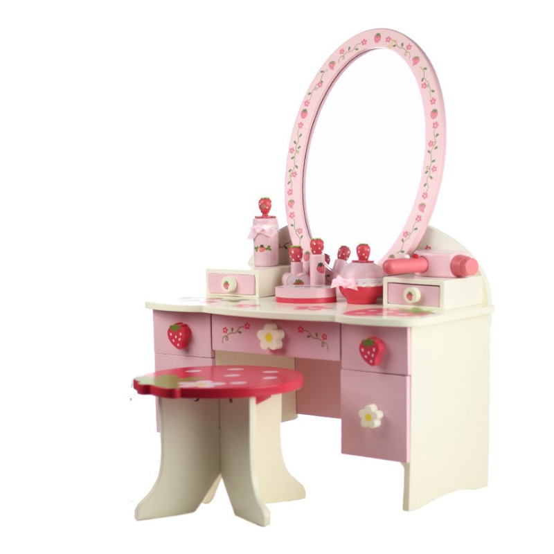 Children Dresser Suit Girl Tuba Simulation Princess Makeup Toys Baby House Wooden Security Non-toxic