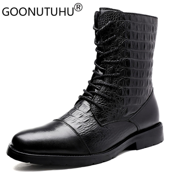 2019 autumn winter men's ankle boots casual genune leather shoes male army snow boot male military boots for men big size 36-47