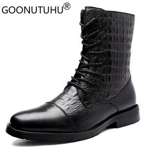Image 1 - 2020メンズ冬カジュアルgenune革の靴男性秋軍の雪のブーツ男性のための男性ビッグサイズ36 47