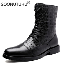 2020 męskie zimowe botki casual genune skórzane buty męskie jesienne armii śniegowce męskie buty wojskowe dla mężczyzn duży rozmiar 36 47