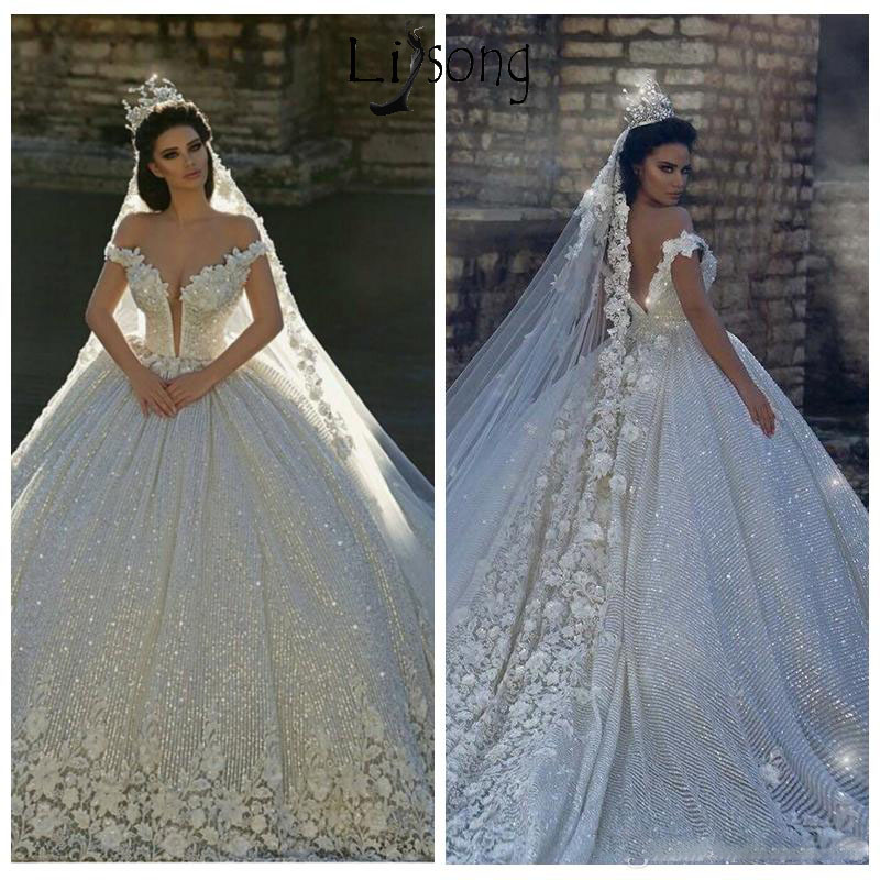2020 Lace Appliques Off Shoulder Ball Gown Sequins Wedding Dresses Bridal Gowns Vestido De Noiva Garden Princess Bride Dress