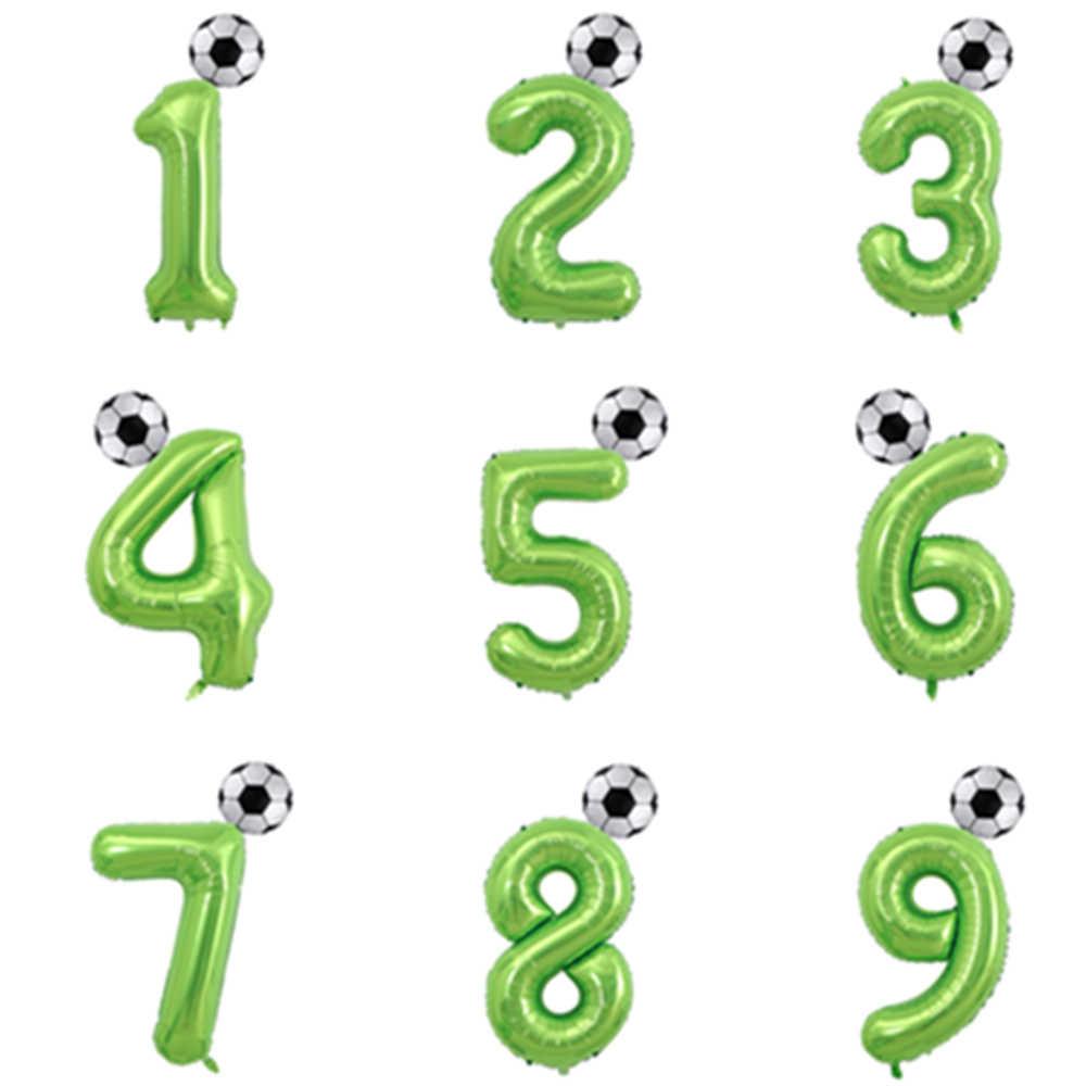 Barcelona koszulka piłkarska piłka nożna z balonów foliowych 40 cali zielony balon w kształcie cyfry chłopiec 1 2 3 rok urodziny dzieci zabawki powietrza Globos