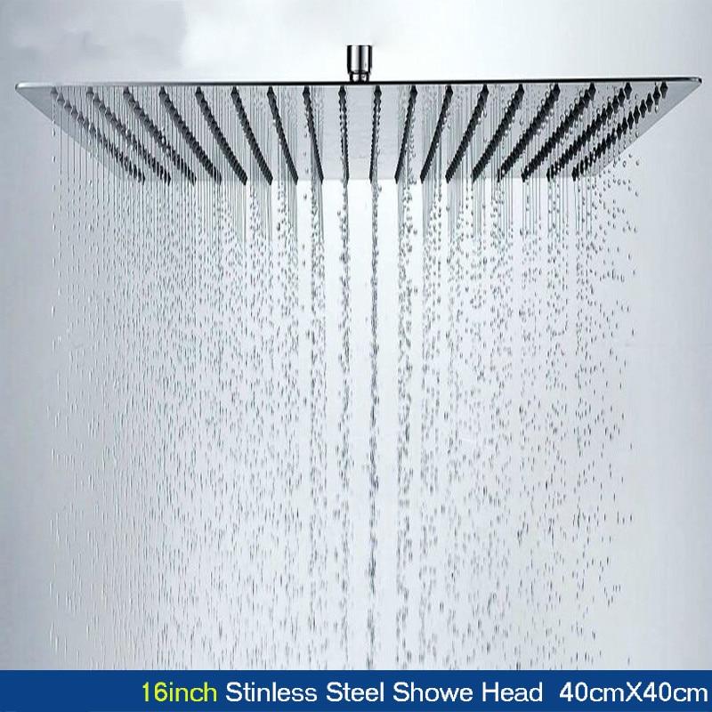 Stainless Steel Shower Head 16Inch 40cmX40cm Square Shower Panel High Pressure Bathroom Rainfall Shower Head Duchas De Bano