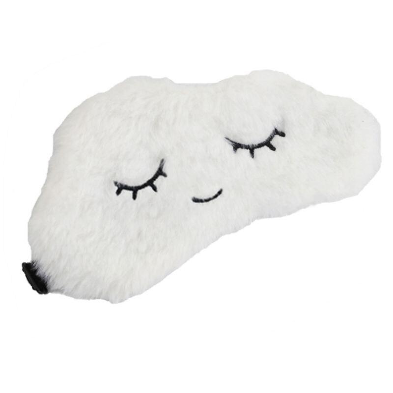 Women Girls Winter Fluffy Plush Sleeping Eye Mask Cute Embroidered Cartoon Cloud Shape Shade Cover Portable Adjustable Blindfold