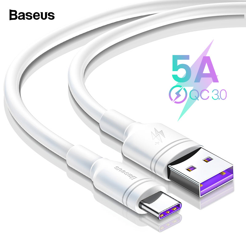 Baseus 5A USB Type C Cable For Huawei Mate 30 20 P30 P20 P10 Pro Lite P Smart USBC Type C Cable Fast Charging USB C Charger Cord-in Mobile Phone Cables from Cellphones & Telecommunications on AliExpress