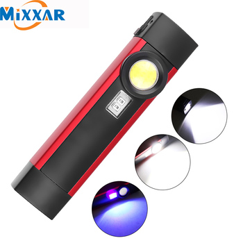 ZK20 LED Flashlight UV Flashlight COB XPE Working light Portable working torch UV light 4 modes with magnet build-in battery