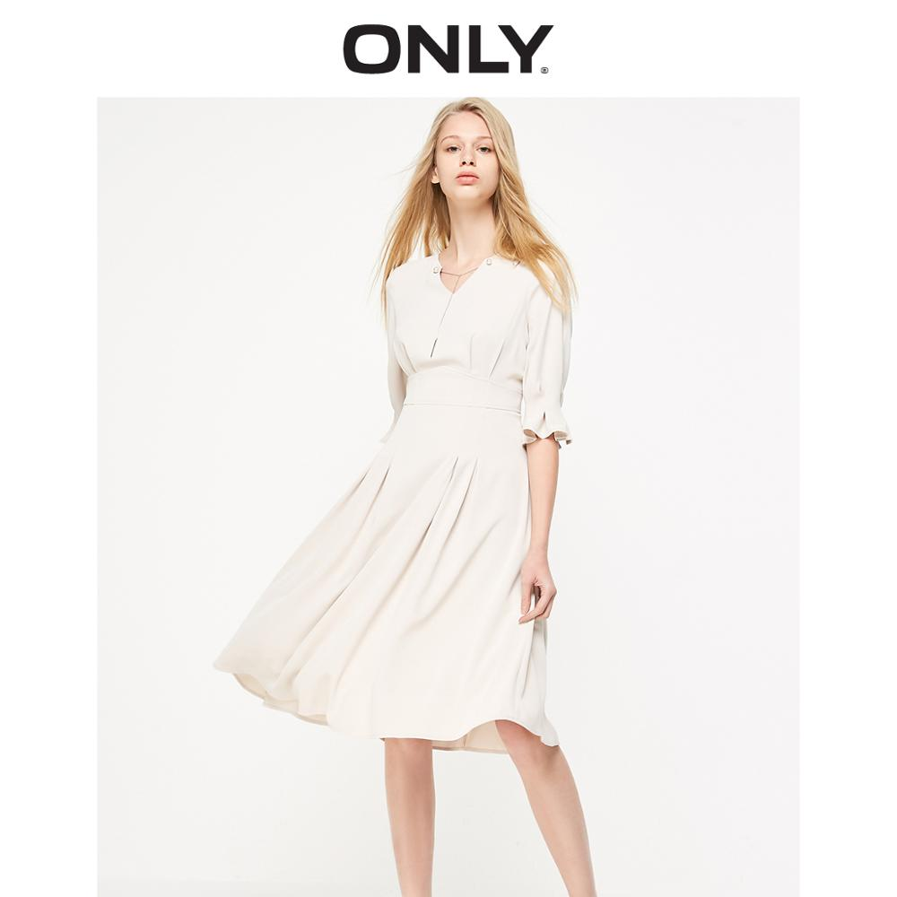 ONLY Women's High-rise Beaded Trims A-line Chiffon Dress | 119107532