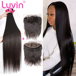 Luvin 28 30 32 34 40 Inch Brazilian Straight Human Hair Weave 3 4 Bundles With 13x4 Lace Frontal Closure Pre Plucked Remy And