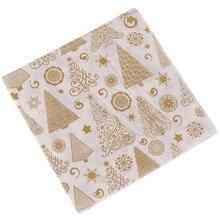 20PCS/set Square Christmas Paper Napkin Pocket Handkerchief For Home Xmas Table Decoration Festival Napkins Cloth