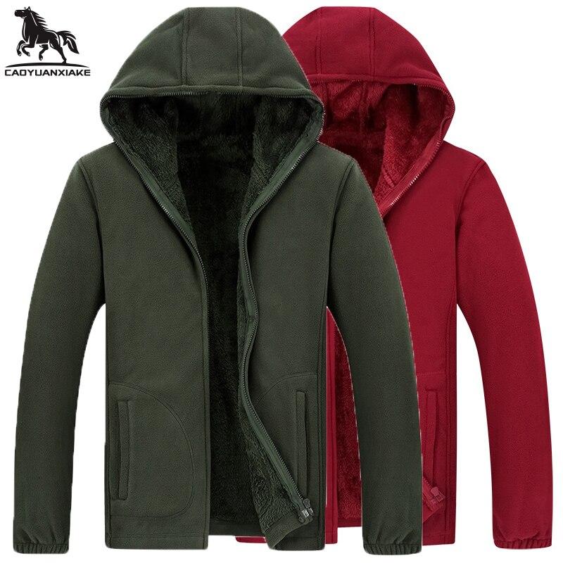 Men Hoodie Jacket L-6XL 7XL 8XL Winter Parka Mens Coat Plus Velvet Warm Jackets Leisure Windbreaker Standing Fleece Coats 1563