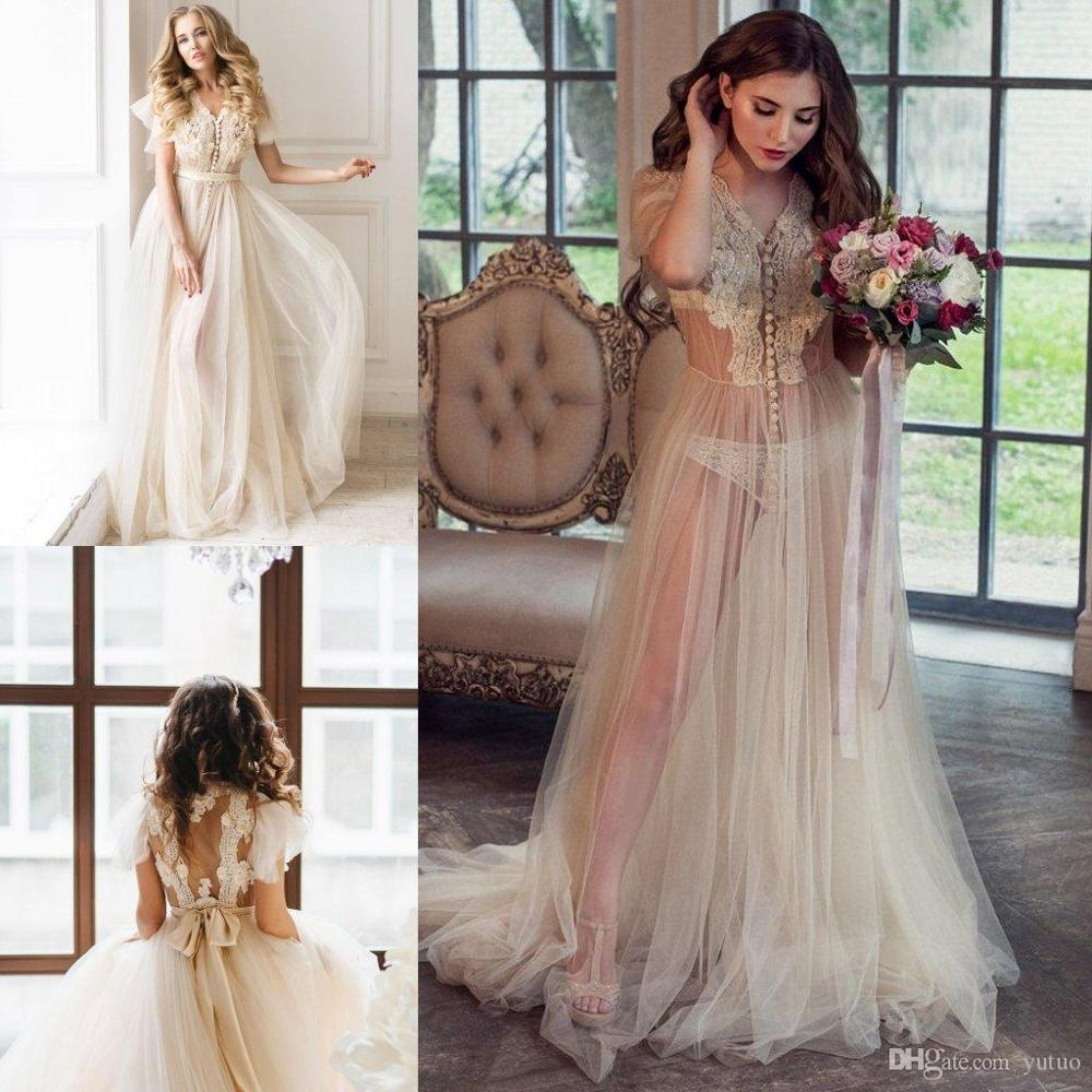 Short Sleeves Bridal Night Robe Lace Buttons See Throught Women Sleepwear Sexy Party Nightgowns Robes