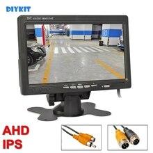 "DIYKIT AHD 7 ""IPS LCD רכב HD צג רכב צג מקסימום תמיכת 1080P AHD מצלמה 2 x 4PIN וידאו קלט"