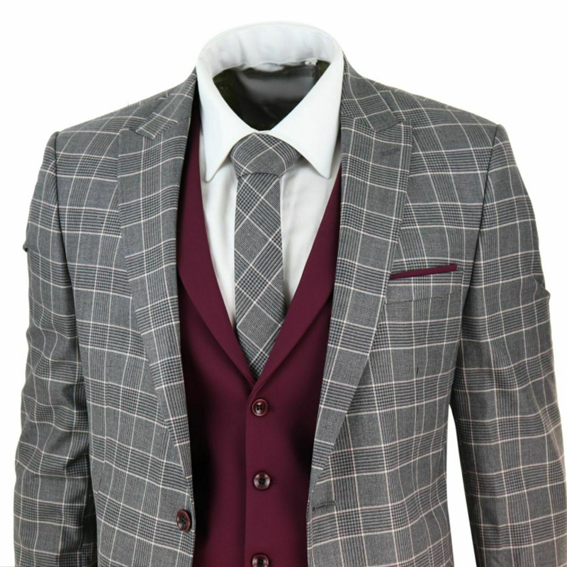 2020 Mens 3 Piece One Button Suit Check 1920s Gatsby Tweed Vintage Polyester+Cotton Grey Classic Wedding Prom Suit