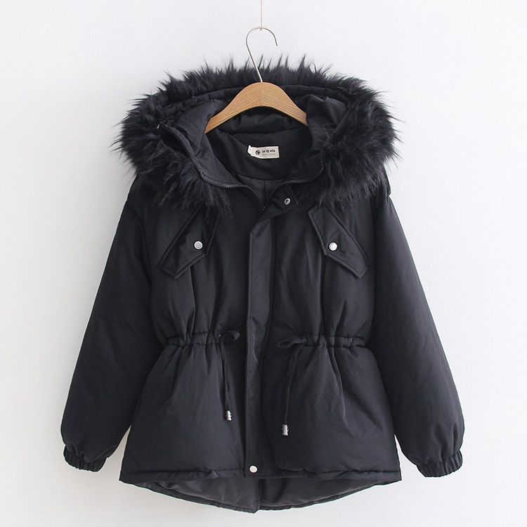 2019 Korean-style Large Fur Collar Down Cotton Coat Thick Student Waist Hugging Short Cotton-padded Clothes 1818