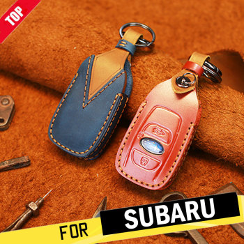 Top Retro Genuine Leather Remote Key Fob Case Cover Protector Keychain for Subaru Forester Impreza Outback WRX BRZ XV Crosstrek image