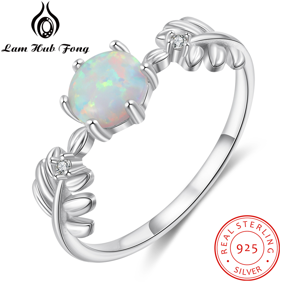 925 Sterling Silver Round White Opal Ring Branch Leaf Ring Cubic Zirconia Fine Jewelry Wedding Gift For Women (Lam Hub Fong)