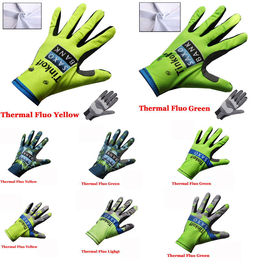 TINKOFF Winter Cycling Gloves Thermal Windproof Warm Fleece Gel Long Sports Touchscreen Fluorescent color Full Finger Gloves