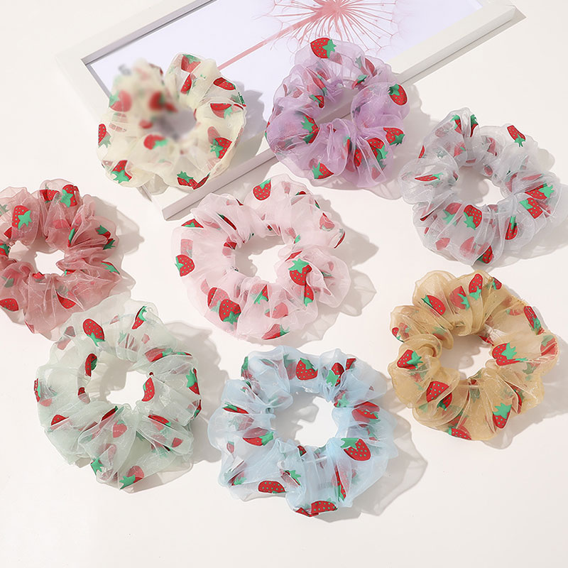 Summer Organza Hair Rope Strawberry Printed Ponytail Ring Hair Accessories Fashion Women Bright Color Hair Bands Girls Headwear