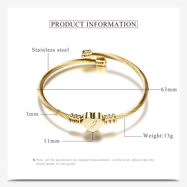 Free Engrave Initial Alphabet Heart Cuff Bangles Women Jewelry Stainless Steel Letter Bangle For Gifts 3