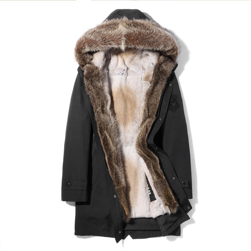 Real Coat Natural Mink Raccoon Rabbit Parka Winter Jacket Men Luxury Fur Warm Parkas Plus Size Veste MG-1208061 MY1989