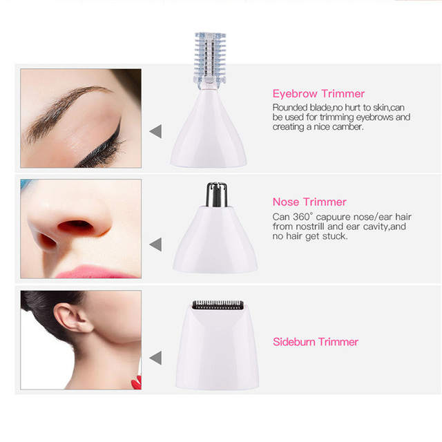 5 in 1 Electric Women Shaver Eyebrow Nose Ear Face Hair Trimmer Painless Body Bikini Hair Remvoal Waterproof Epilator Shaving 49 3